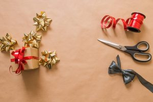 wrapping paper and ribbon