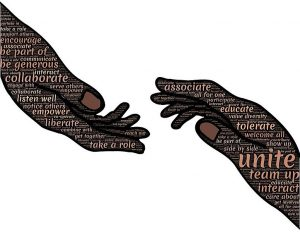 illustrated hands connecting