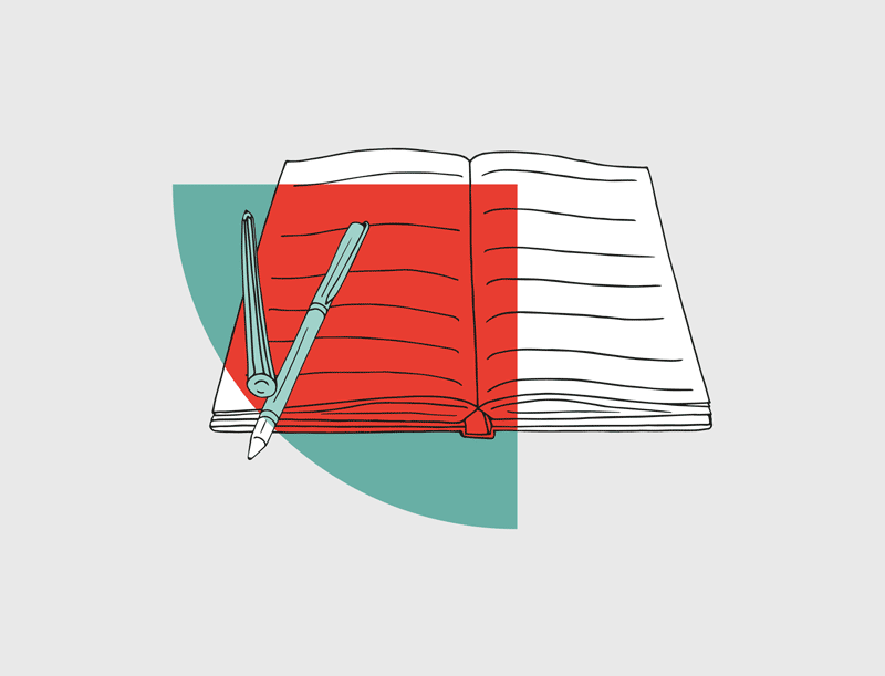 illustration of an open journal with pen