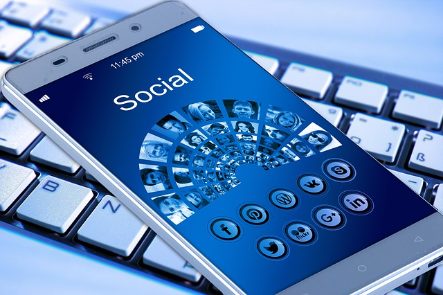 mobile phone with social media on it